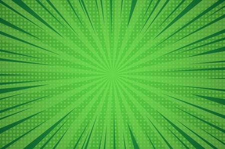 Komische dynamische groene achtergrond met radiale balken en gestippelde humor effecten vector illustratie