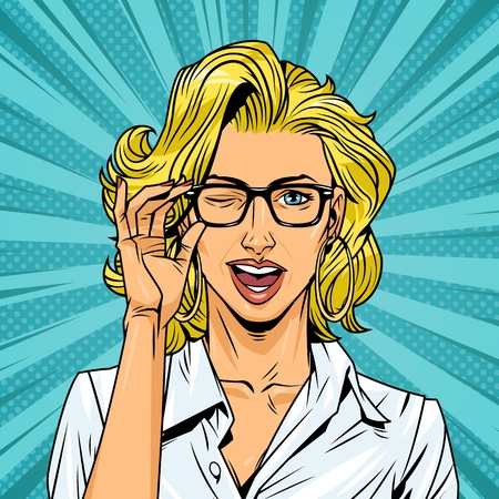 Comic winking pretty blonde girl in white blouse with glasses on radial background vector illustration Illustration