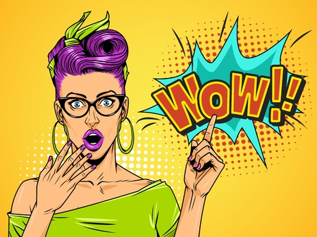Comic wonder beautiful girl with eyeglasses and purple hair pointing at comic speech cloud on yellow background vector illustration