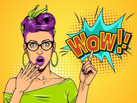黄色の背景ベクトルイラスト上の漫画のスピーチ雲を指し示す眼鏡と紫色の髪を持つ漫画の不思議美少女