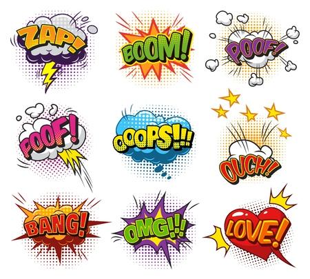 Colección de burbujas de discurso dinámico explosivo cómico con diferentes inscripciones nubes corazón relámpago estrellas sonido y efectos de humor de semitonos aislados ilustración vectorial