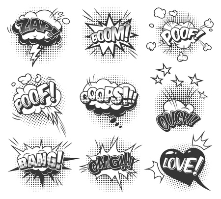 Comic speech bubbles dynamic set with inscriptions clouds of different shapes sound stars and halftone humor effects in monochrome style isolated vector illustration Illustration