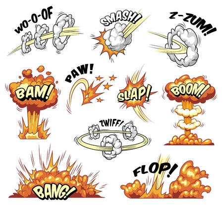 Comic explosions colorful set with different wordings clouds explosive and boom effects isolated vector illustration