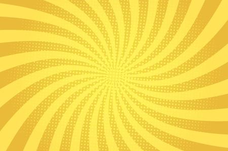 Komische abstracte blauwe achtergrond met radiale stralen en halftone humoreffecten vectorillustratie