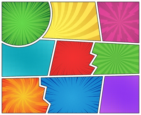 Comic page colorful blank composition with spiral halftone rays effects vector illustration