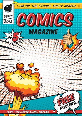 Comics poster design template with burst speech bubbles twisted rays halftone humor effects thumb up hand gesture bomb vector illustration Illustration