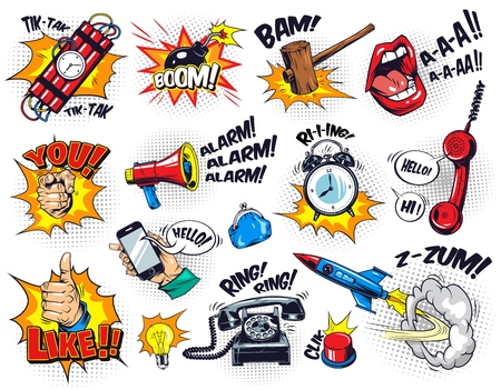 Comic bright elements composition with speech bubbles wordings halftone effects dynamite alarm clock button gavel bomb phone lips rocket hand gestures bulb megaphone purse vector illustration