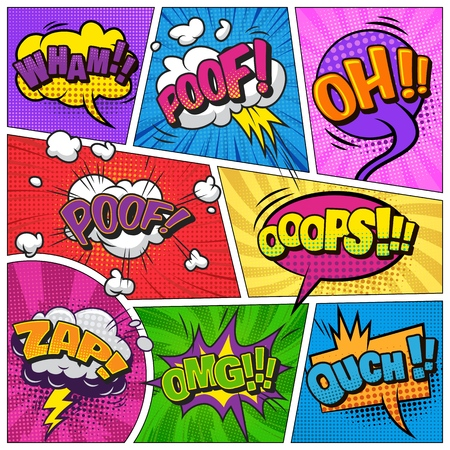 Comic page background with speech bubbles wordings clouds explosive halftone radial rays humor effects vector illustration Stock Photo