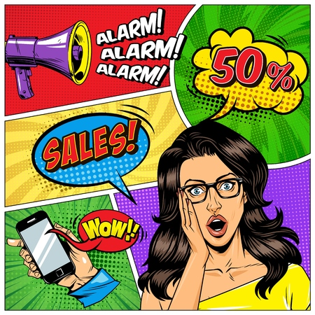 Comic book page template with surprised girl hand holding mobile megaphone colorful speech bubbles Wow Alarm Sales wordings halftone radial rays effects vector illustration
