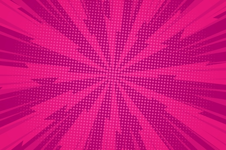 Komische dynamische roze achtergrond met radiale bliksemstralen en lichte halftooneffecten vectorillustratie