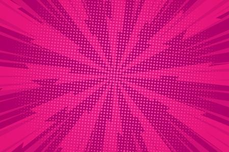 Komischer dynamischer rosa Hintergrund mit radialen Blitzstrahlen und hellen Halbtoneffekten Vektorillustration