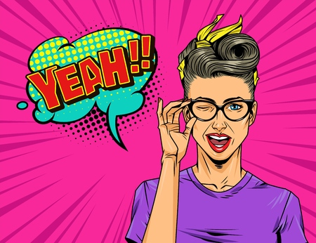 Comic light concept with winking pretty woman in purple dress green speech bubble red Yeah wording halftone and rays effects on pink background vector illustration Çizim