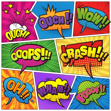 Comic book page light template with colorful speech bubbles bright inscriptions stars different humor effects vector illustration