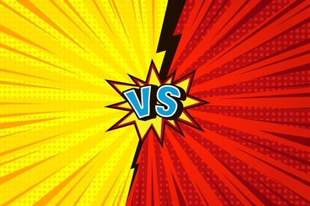Comic versus concept concurrentiel avec des effets de demi-teintes de rayons radiaux bulle de discours de foudre bleu VS lettres sur fond jaune et rouge illustration vectorielle