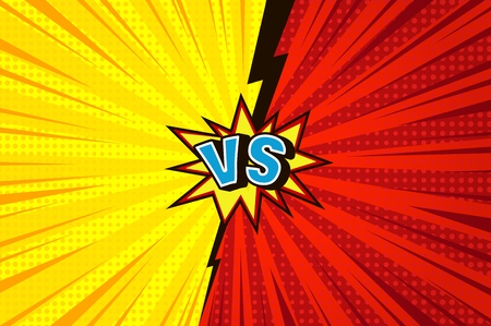 Comic versus competitive concept with radial rays halftone effects lightning speech bubble blue VS letters on yellow and red backgrounds vector illustration Illustration