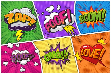 Comic bright template with speech bubbles different wordings lightnings clouds on colorful frames vector illustration