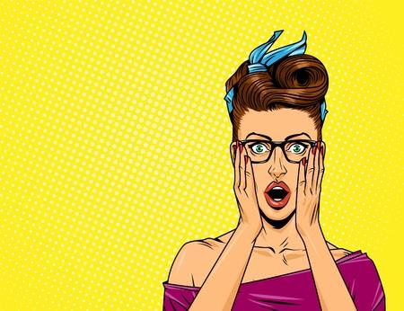 Donna di meraviglia di pop art con gli occhiali sull'illustrazione di vettore del fondo di semitono giallo comico
