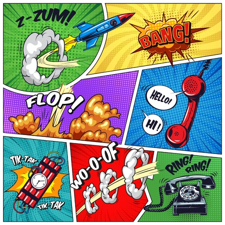 Pop art colorful concept with phone dynamite flying rocket wordings speech bubbles explosive effects on colorful frames in comic style vector illustration
