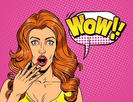 Comic surprised pretty girl concept with red hair speech bubble Wow wording on pink halftone background vector illustration