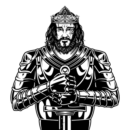 Vintage zwart-wit middeleeuwse krijger met zwaard helm cape en metalen pantser vectorillustratie dragen
