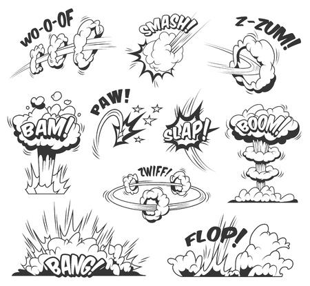 Colección de explosiones y ráfagas de cómic con diferentes inscripciones, nubes de burbujas, efectos explosivos y boom en estilo monocromo, ilustración vectorial aislada Ilustración de vector