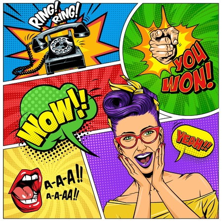 Comic colorful composition with wonder beautiful girl telephone shouting mouth pointing finger gesture speech bubbles wordings halftone radial rays effects vector illustration Illusztráció