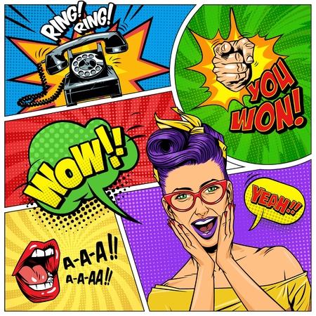 Komische bunte Komposition mit Wunder schönes Mädchen Telefon schreien Mund zeigt Finger Geste Sprechblasen Formulierungen Halbton Radialstrahlen Effekte Vektor Illustration