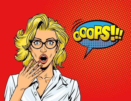 El arte pop sorprendió a la chica rubia con la redacción cómica de la burbuja del discurso azul de los anteojos en la ilustración de vector de fondo de semitono rojo