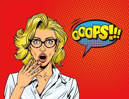 Pop art surprised blonde girl with eyeglasses blue speech bubble comic wording on red halftone background vector illustration