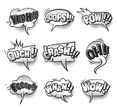 Comic monochrome speech bubbles collection with different wordings sound and halftone humor effects isolated vector illustration Illustration