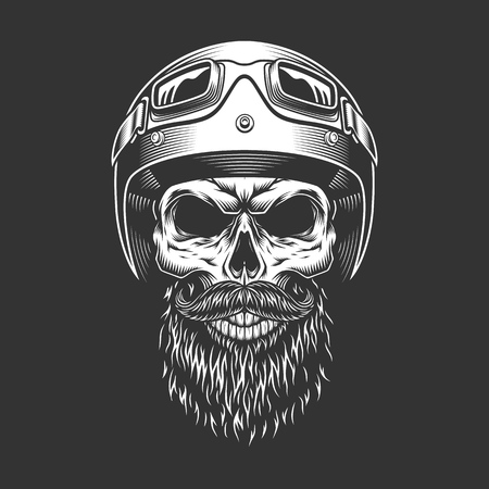 Monochrome vintage skull with biker helmet. Vector illustration. Vettoriali
