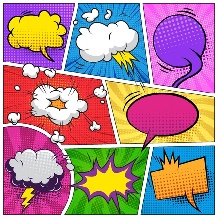Comic-Seitenkomposition mit bunten leeren Sprechblasen und verschiedenen Humoreffekten Vektor-Illustration Vektorgrafik