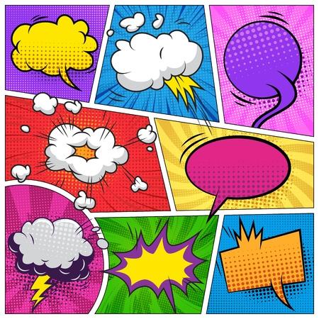 Composición de la página de cómic con coloridos bocadillos en blanco y varios efectos de humor ilustración vectorial Ilustración de vector