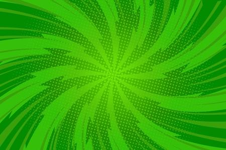 Komische abstrakte grüne helle Vorlage mit verdrehten radialen Blitzstrahlen und Punkteffektvektorillustration