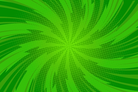 Comic abstract green bright template with twisted radial lightnings rays and dots effects vector illustration