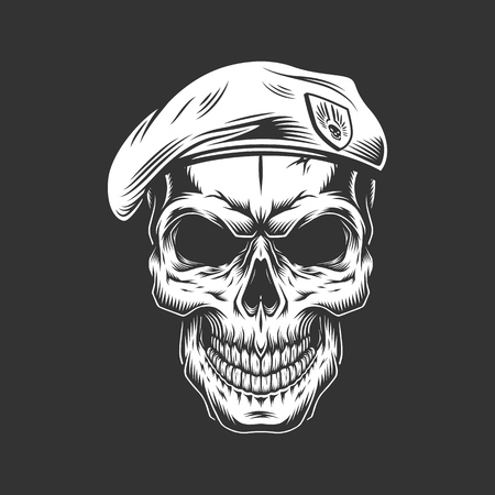 Monochrome vintage skull with seals hat. Vector illustration Иллюстрация