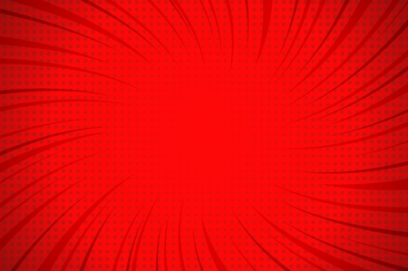 Comic explosive red template with twisted rays and dots humor effects vector illustration