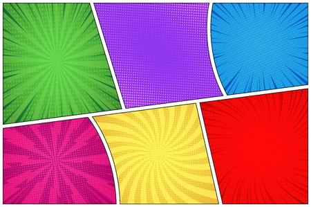 Comic book page colorful background with radial halftone and rays humor effects vector illustration