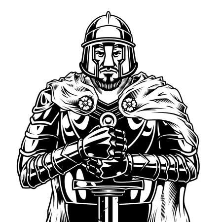 Vintage monochromatyczny średniowieczny wojownik z mieczem na sobie pelerynę hełmu i metalową zbroję na białym tle ilustracji wektorowych