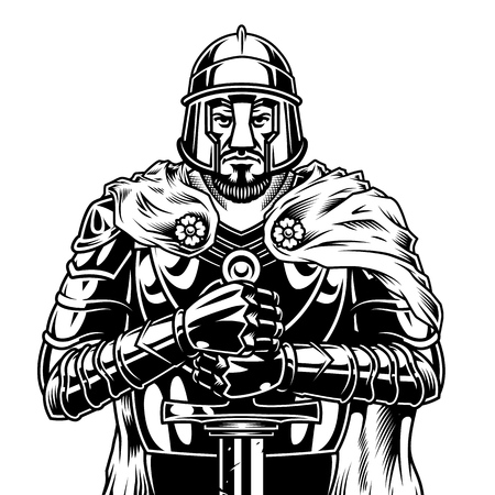 Vintage monochrome medieval warrior with sword wearing helmet cape and metal armor isolated vector illustration