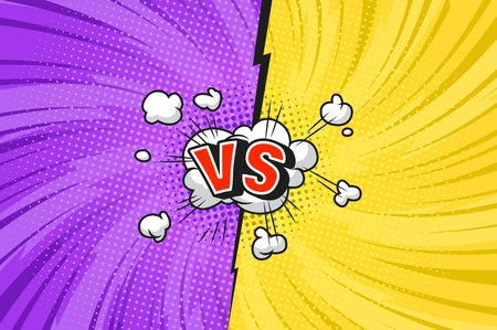 Comic duel bright template with speech bubble explosive clouds twisted radial lightnings rays halftone effects speech bubble red VS letters on yellow and purple sides vector illustration