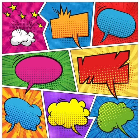 Comic colorful blank speech bubbles set with stars clouds sound halftone radial and rays humor effects vector illustration 向量圖像