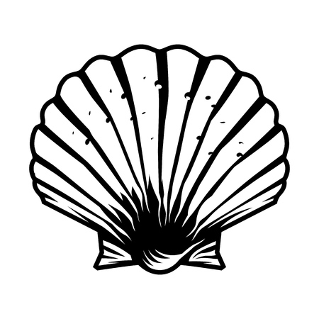 Vintage monochrome scallop seashell template isolated vector illustration Çizim