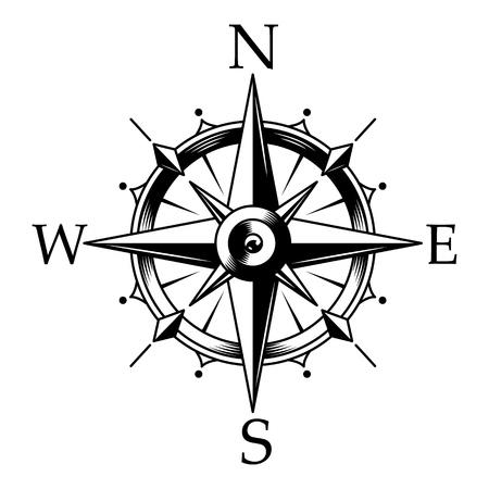 Bussola nautica e concetto di rosa dei venti in stile monocromatico vintage isolato illustrazione vettoriale Vettoriali
