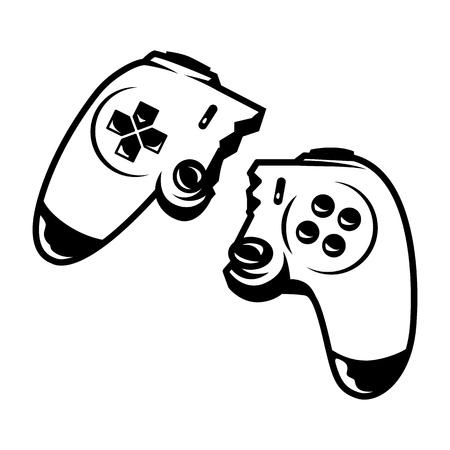 Vintage monochrome broken wireless joystick isolated vector illustration