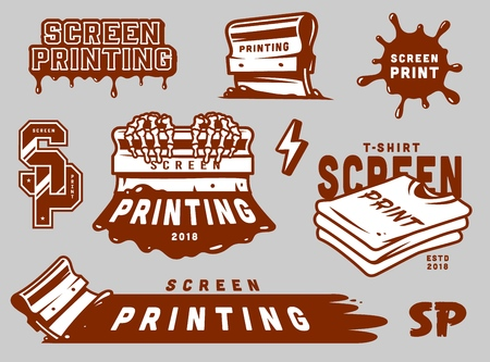 Vintage screen printing elements set with squeegees paint splashes shirts lightning inscriptions isolated vector illustration