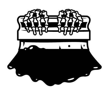 Modèle de raclette de sérigraphie vintage avec éclaboussures de peinture illustration vectorielle isolé Vecteurs