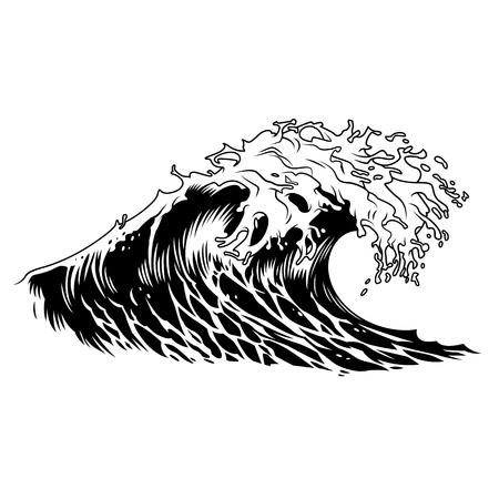 Monocromatico grande concetto di onda dell'oceano in stile vintage isolato illustrazione vettoriale Vettoriali