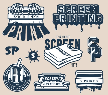 Vintage screen printing concept with squeegees shirts lightnings letterings paint splashes on gray background isolated vector illustration Foto de archivo - 109849303