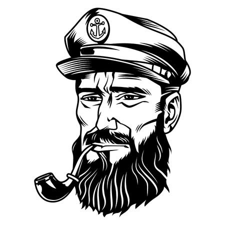 Vintage monochrome bearded sailor smoking pipe isolated vector illustration Çizim